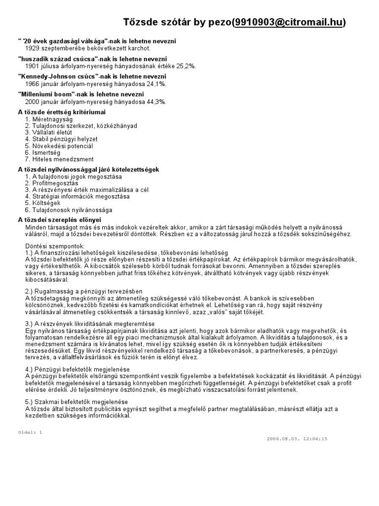 részvényopció kereset)
