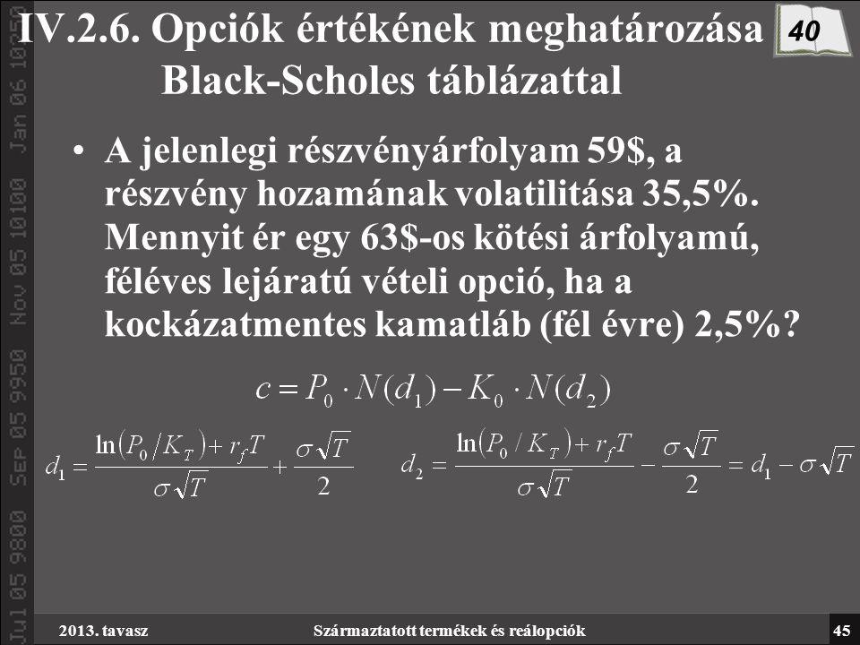 opció prémium meghatározási modellek)