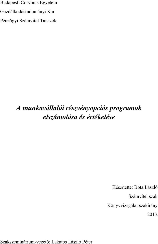 részvényopciók értékelése)